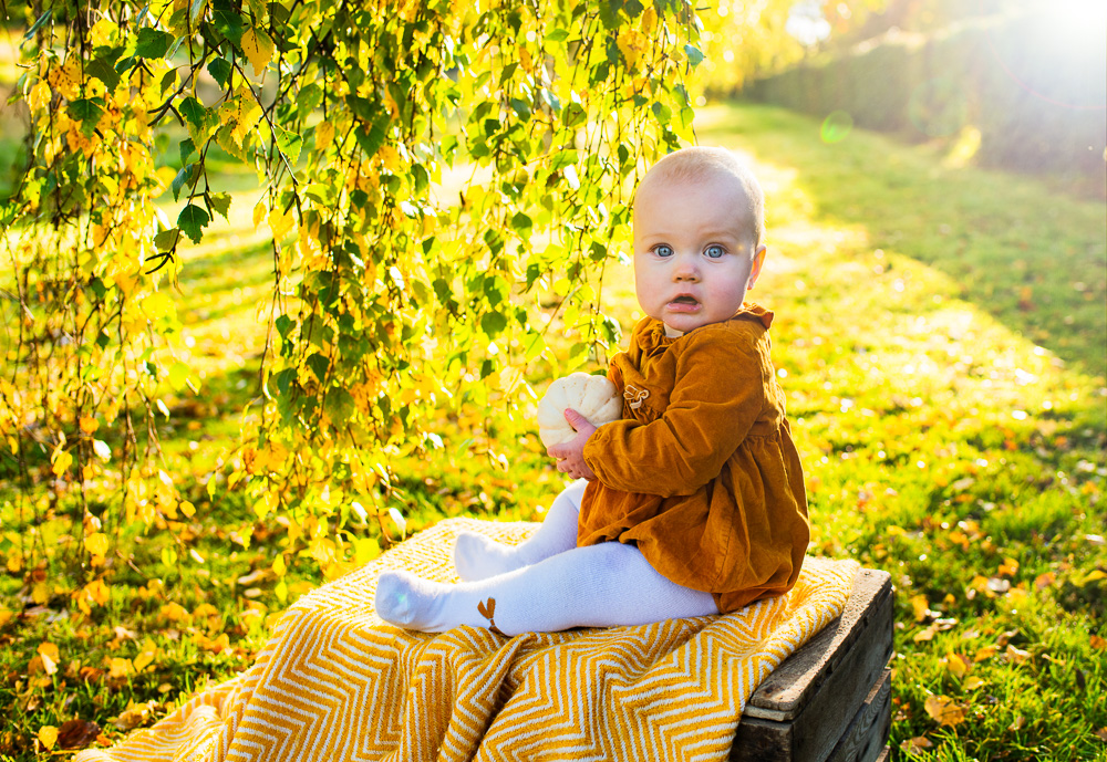 baby holding pumpkin in the park